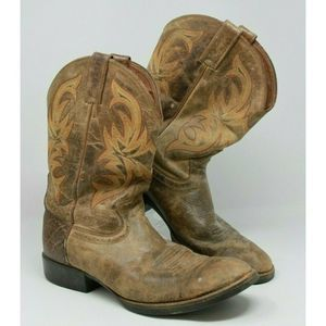 Justin Size 9.5 D Brown Leather Cowboy Boots